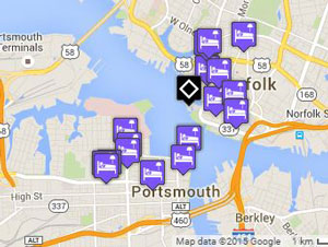 Map of Norfolk and Portsmouth hotels